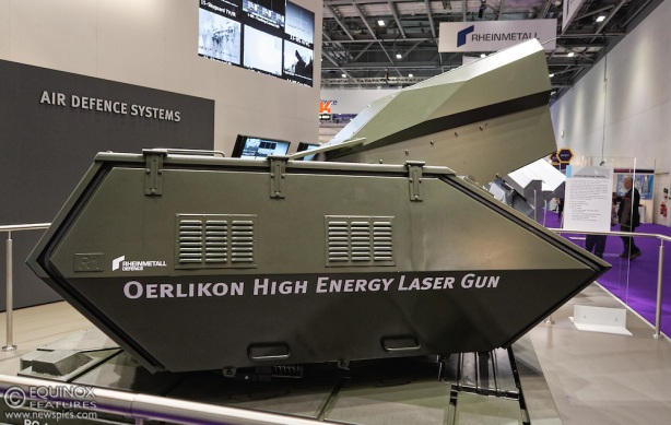 Rheinmetall air defence systems Oerlikon High Energy Laser Gun on display at the defence and security exhibition DSEI at ExCeL, Woolwich, London, England, UK.